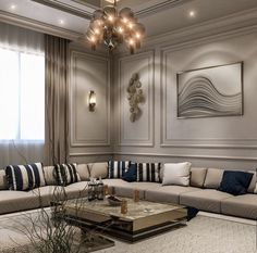 Home Design Living Room, Elegant Living Room, Home Design Decor, Home Interior Design, Living Room Decor, Home Entrance Decor, House Rooms, Behance, Arabic Decor