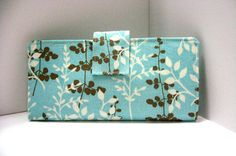 Vegan Wallet in Blue Cream and Tan Floral Pods by ThePerfectWallet, $54.00