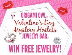 #WIN #FREE ORIGAMI OWL #JEWELRY! Double click to join our Mystery Hostess #Valentine's Day Jewelry Bar. One lucky person will win all the #Hostess Rewards! #OrigamiOwl #Gifts #Lockets