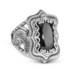 Carolyn Pollack Jewelry | Silver Rodeo Sterling Silver and Onyx Ring