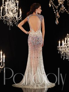 Panoply Style 14651: Sweetheart neckline with cap sleeves, open low keyhole back, nude tulle with nude bodice lining, sheer full trumpet skirt, heavy multi-color AB stones on bust, shoulders, and hips, with train. #prom #prom2014 #promdress #pageant #pageantdress #dress #panoply #panoplydress #houseofwu