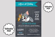 EDITABLE TEXT Tom and Jerry Birthday by samsprintboutique on Etsy
