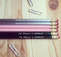 A set of pencils that shows off the real you. 19 Back-To-School Supplies Every Mermaid Needs College Supplies, Back To School Supplies, Mermaid School, School Trends, Dream School, Mermaid Room, Diy Notebook, School Items, Gifts For Coworkers