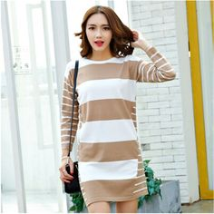 Korean Style Pregnant Women Long Sleeve Casual Striped Maternity Dress One Size