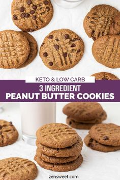 Healthy 3 ingredient peanut butter cookies! Choose to make these Keto Chocolate Chip Peanut Butter Cookies if you wish!