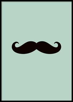 Kleine grafische poster met een mooie snor op mintgroene achtergrond. Ook verkrijgbaar met lichtroze achtergrond. Past mooi samen bij onze andere kinderposter en posters met kindermotieven. www.desenio.nl