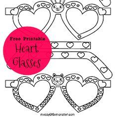 Free Printable Heart Glasses