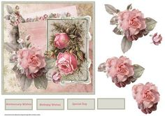 Romance rose card with decoupage on Craftsuprint designed by Angela Wake - Romance rose card with decoupage and sentiment tags. can be used for birthdays - Now available for download!