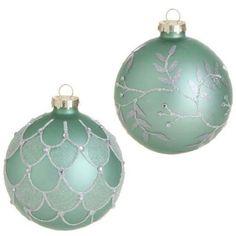 RAZ Imports - Glittered Mint Green Glass Ball Ornaments – PerfectlyFestive.com