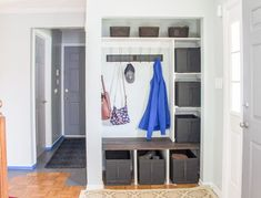entry way closet makeover, Goodbye chaos Hello organization Source by Built In Desk, Built In Bookcase, Hall Furniture, Royal Furniture, Mirrored Furniture, Rustic Furniture, Street Furniture, Furniture Stores, Furniture Cleaning