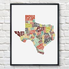 Texas Typography Map Print #texas