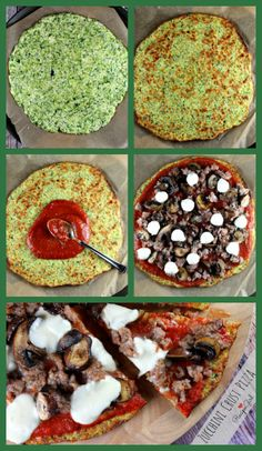 Pizza made with a ZUCCHINI CRUST.  Even the kids will eat this one!