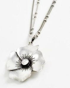 Burnished Silver Tone Metal / Clear Rhinestone / Lead Compliant / Flower Pendant / Necklace