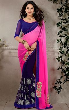Picture of Tempting Pink and Blue Designer Ethnic Saree