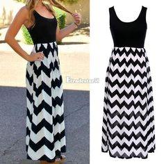 Chevron Maxi Dress Black and White