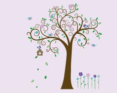 Children wall decal tree-Vinyl tree decal- tree decal- Swirl tree decal- Nursery tree birdhouse-- flowers-