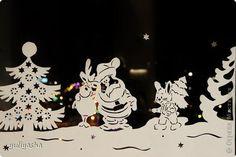 Декор предметов Новый год Аппликация Новогодние окна   Бумага фото 3