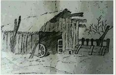 OLD FARM by Caranguexo, 1991, graphite and nankin on paper