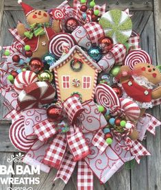 Gingerbread Christmas Decor, Candy Land Christmas, Gingerbread Decorations, Christmas Swags, Whimsical Christmas, Etsy Christmas, Christmas Tree Themes, Holiday Wreaths, Beautiful Christmas