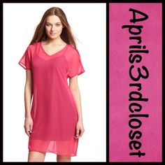 """Chiffon Tunic Dress Fuchsia V Neck NEW WITH TAGS RETAIL PRICE: $58   Blank Nation Chiffon Tunic Dress  * Features a flattering v-neck  * Semi-sheer construction  * Wide faux leather belt included  * It measures about 32"""" long; will best fit sizes 6-8.  * Can be worn over a black or white tunic length tank  Fabric:Polyester Blend Color: Fuchsia Item:912100  No Trades ✅Fair Offers*/Bundle Discounts✅ *Please use the 'offer' button to submit your best offer. Blank Nation Tops Tunics"""