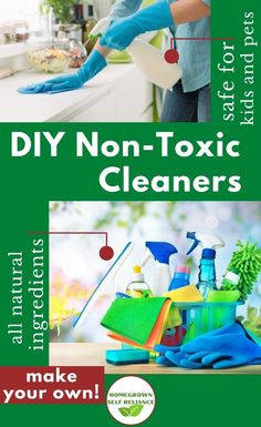 Do you use traditional cleaners for your home? Did you know that there is a lot of harmful chemicals in them? You can make your very own non-toxic cleaners for your home, that are safe for your kids and pets. Find out how here! Diy Glass Cleaner, Diy Bathroom Cleaner, Diy Floor Cleaner, Diy Carpet Cleaner, Cleaning Recipes, Diy Cleaning Products, Cleaning Hacks, How To Make Diy, Make Your Own