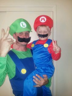 Father and Son Halloween costumes | Mario and Luigi & Cool Father/Son Costume: Lego City Police Officer and Burglar ...