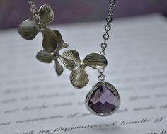 Purple Orchid Necklace Lariat silver Amethyst Bridesmaid Necklace