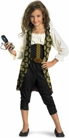 Angelica Classic Child Costume Disguise. $14.99. polyester. Pants included to complete look. Hand Wash. Vest is attached to shirt. Beautiful print on vest. From Pirates of the Caribbean: On Stranger Tides. Size: Child S(4-6x), M(7-8), L(10-12)