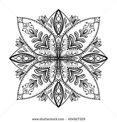 Vector Coloring Book For Adult Square Page Relax And Meditation Black White