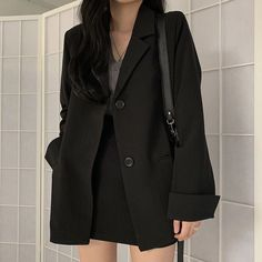 OFF Suit Skirts Blazer Black Formal Women Casual Workwear No Notched Coat Korean Girl Fashion, Ulzzang Fashion, Asian Fashion, Look Fashion, Fashion Black, Autumn Fashion, Kpop Fashion Outfits, Korean Outfits, Mode Outfits