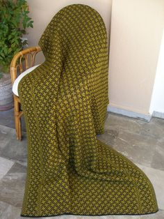 Olive Love... Vintage Mid Century Bedspread Curtain Woven Cotton by VintageHomeStories