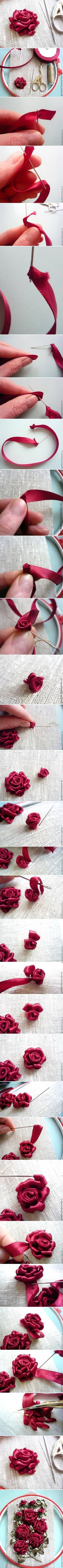 "Love silk flower embroidery and crazy quilt embroidery ""DIY Nice Beautiful Ribbon Rose DIY Nice Beautiful Ribbon Rose by diyforever"", ""DIY Ribbon Rose f Ribbon Art, Diy Ribbon, Ribbon Crafts, Flower Crafts, Ribbon Rose, Organza Ribbon, Silk Ribbon Embroidery, Embroidery Stitches, Hand Embroidery"