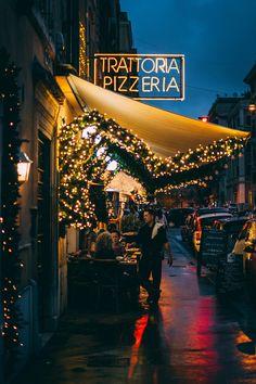Trattoria in the evening, Rome, Italy