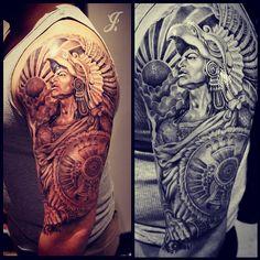 left-half-sleeve-aztec-warrior-tattoo-for-men.jpg (612×612)