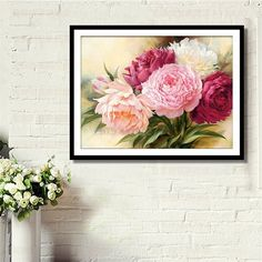 DIY 5D Diamond Embroidery Painting Peony Flower Cross Stitch Crafts Home Decor #H0VH# #Affiliate