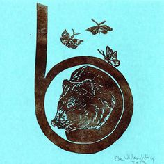 B is for #bear and #butterflies - my #linocut #alphabet print. #printmaking #typography #backtoschool