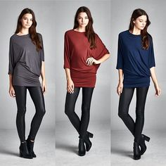 T15860 Semi-loose fit asymmetrical dolman sleeves round neck tunic top. One sleeve is fitted dolman and the other sleeve is wide dolman sleeve. Fitted at bottom. This top is made with heavy weight modal knit jersey that is very soft drapes beautifully and has great stretch. #cherishapparel #cherishusa #fashionista #fashiontop #fashionable #fallfashion #brushedfabric #instafashion #instastyle #fashionbuyer #fashionstyle #ootd #fashionable #beautiful #shopcherish #fashion #tops…
