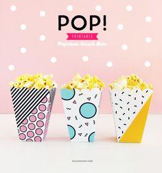 Pop Printable Popcorn Snack Box for Popcorn Party or Movie Night Homemade Popcorn, Popcorn Snacks, Carnival Themed Party, Snack Box, Do It Yourself Home, Diy Party, Party Printables, Little Gifts, Party Time