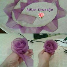 You can easily make this beautiful rose model with a total construction of 60 cm with 2 cm pink chiffon. Diy Ribbon Roses How to diy satin ribbon rose This Pin was discovered by tuğ Ribbon Embroidery Flowers by Hand - Embroidery Patterns silk ribbon Satin Ribbon Roses, Ribbon Art, Ribbon Crafts, Flower Crafts, Fabric Crafts, Sewing Crafts, Diy Crafts, Organza Ribbon, Diy Flower