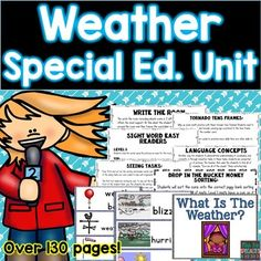 Target Language development, ELA, math, science and life skills with this weather unit! This set has 130 pages of resources and tips on how to use the materials in multiple ways to save you time and money! This materials are ideal for classrooms with multiple levels, disabilities, speech therapy needs and any special education setting.