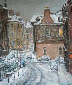 Henry Kondracki Union Street in the Snow Oil on canvas Christmas Exhibition 2011 - The Scottish Gallery, Edinburgh - Contemporary Art Since 1842
