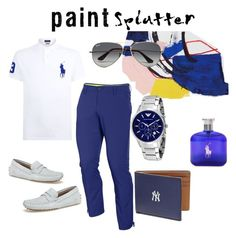 """Blue paint splash splatter"" by makesmefashionable on Polyvore featuring Polo Ralph Lauren, iCanvas, Under Armour, Lacoste, Emporio Armani, Coach, Ray-Ban, Ralph Lauren, men's fashion and menswear"