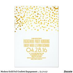 Modern Gold Foil Confetti Engagement Party