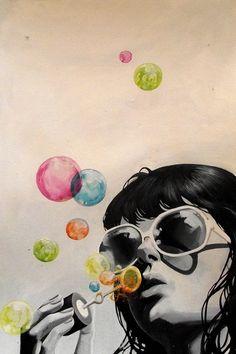 Bubballoon doing bubbles art illustration