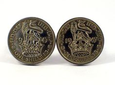 English One Shilling Coin Cuff Links by Michelleshandcrafted
