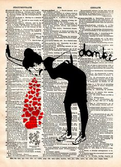 Lovesick Banksy art print, Love sick print, girl with hearts, dictionary art print
