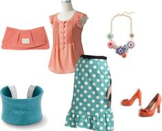 Coral and Teal Polka dots.. My wedding colors!! :D