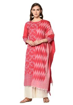 Buy Pink Cotton Kameez With Palazzo 207955 online at lowest price from huge collection of salwar kameez at Indianclothstore.com.