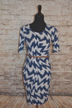 Modcloth Dilly Tally Dress NWT Sz L Sheath Knit Abstract Sunny Girl Belted  #SunnyGirl #sheath