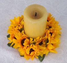 """Sunflowers Candle ring 6"""" \ centro de mesa para velas con Girasoles 6 cm"""